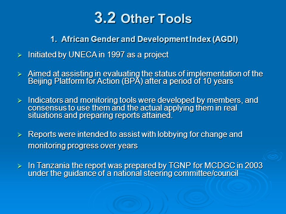 3.2 Other Tools 1. African Gender and Development Index (AGDI)  Initiated by UNECA in 1997 as a project  Aimed at assisting in evaluating the status
