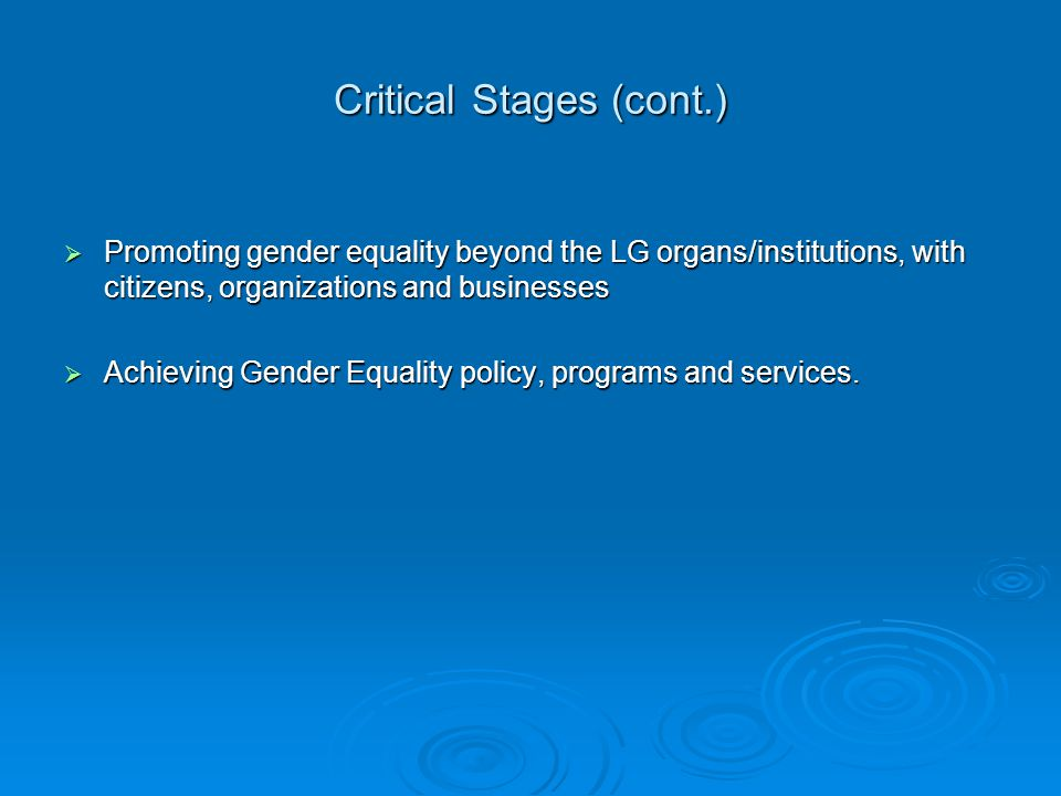 Critical Stages (cont.)  Promoting gender equality beyond the LG organs/institutions, with citizens, organizations and businesses  Achieving Gender