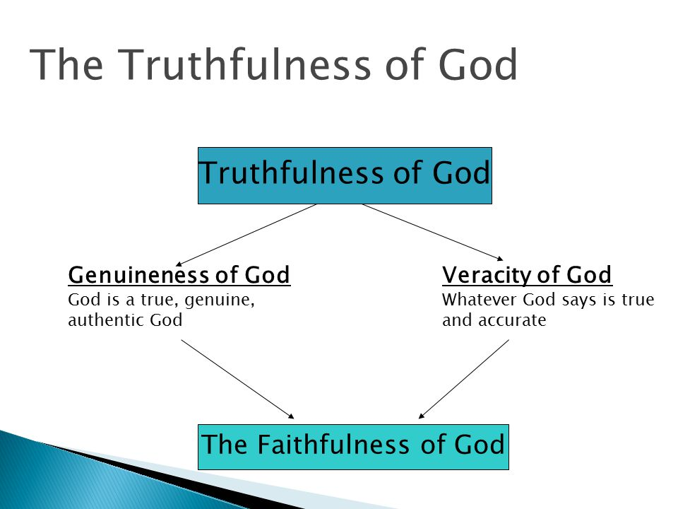 Truthfulness of God Genuineness of God God is a true, genuine, authentic God Veracity of God Whatever God says is true and accurate