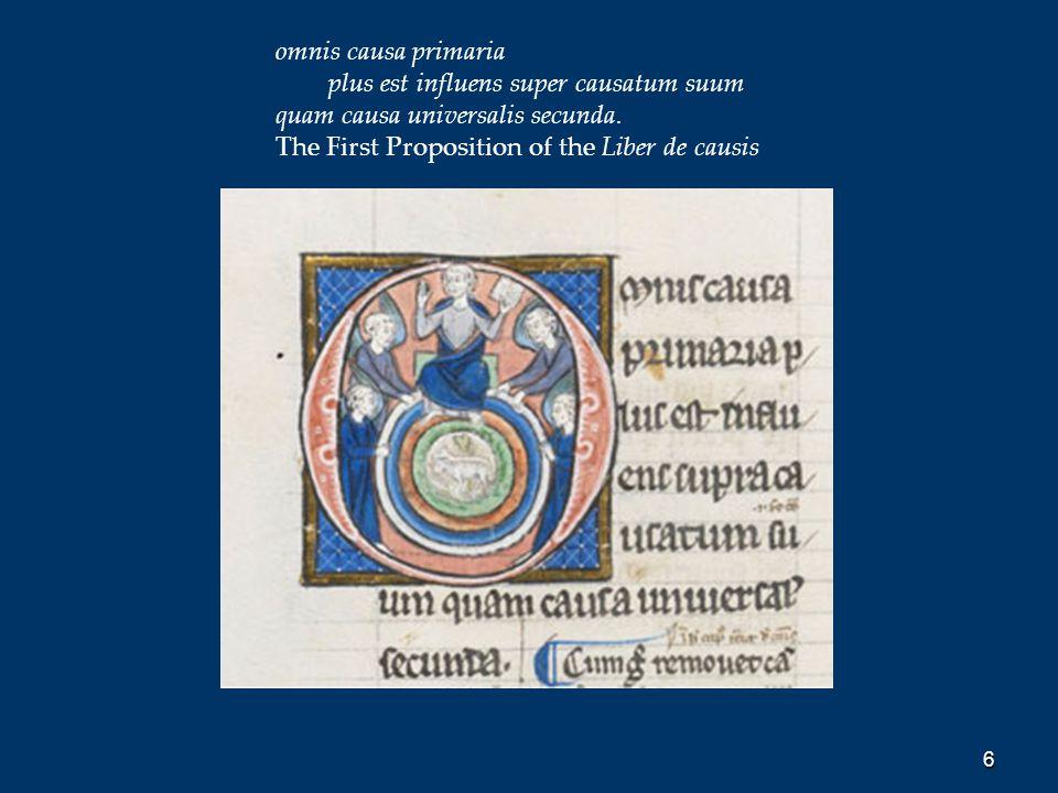 6 omnis causa primaria plus est influens super causatum suum quam causa universalis secunda. The First Proposition of the Liber de causis