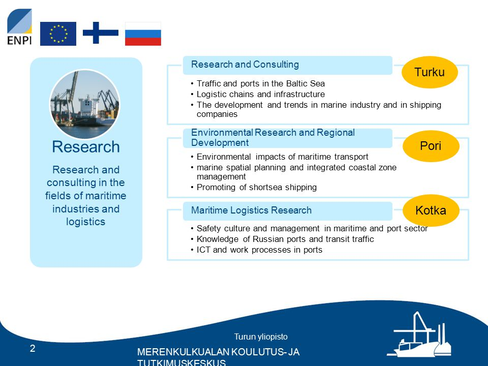 Turun yliopisto MERENKULKUALAN KOULUTUS- JA TUTKIMUSKESKUS 2 Traffic and ports in the Baltic Sea Logistic chains and infrastructure The development and trends in marine industry and in shipping companies Research and Consulting Environmental impacts of maritime transport marine spatial planning and integrated coastal zone management Promoting of shortsea shipping Environmental Research and Regional Development Safety culture and management in maritime and port sector Knowledge of Russian ports and transit traffic ICT and work processes in ports Maritime Logistics Research Research Research and consulting in the fields of maritime industries and logistics TurkuPori Kotka