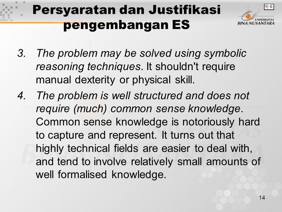14 Persyaratan dan Justifikasi pengembangan ES 3.The problem may be solved using symbolic reasoning techniques.