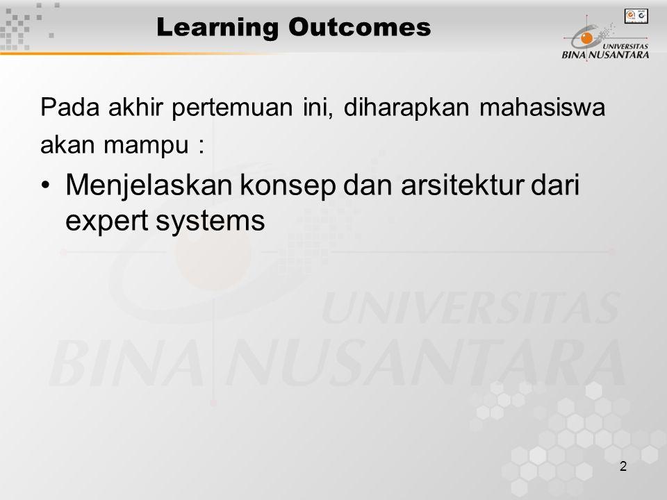 2 Learning Outcomes Pada akhir pertemuan ini, diharapkan mahasiswa akan mampu : Menjelaskan konsep dan arsitektur dari expert systems