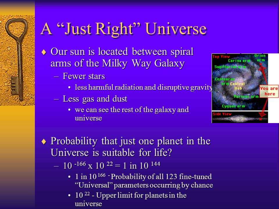  Our sun is located between spiral arms of the Milky Way Galaxy –Fewer stars less harmful radiation and disruptive gravityless harmful radiation and disruptive gravity –Less gas and dust we can see the rest of the galaxy and universewe can see the rest of the galaxy and universe  Probability that just one planet in the Universe is suitable for life.