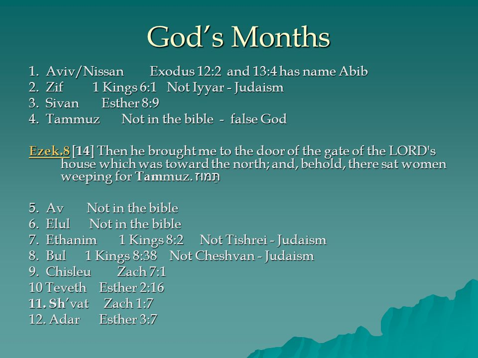 God's Months 1. Aviv/Nissan Exodus 12:2 and 13:4 has name Abib 2.