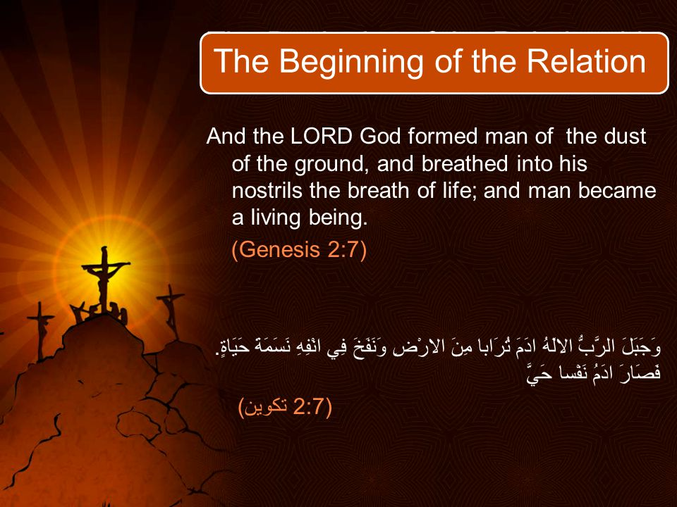 The Beginning of the Relationship And the LORD God formed man of the dust of the ground, and breathed into his nostrils the breath of life; and man became a living being.