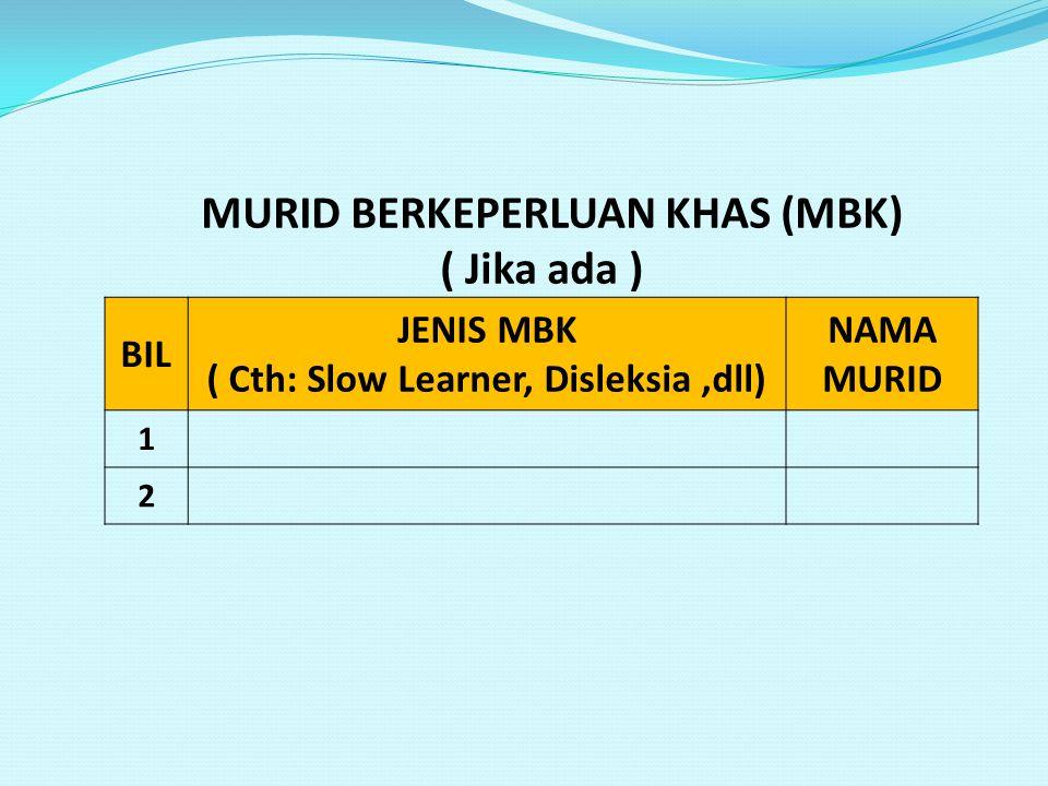 MURID BERKEPERLUAN KHAS (MBK) ( Jika ada ) BIL JENIS MBK ( Cth: Slow Learner, Disleksia,dll) NAMA MURID 1 2