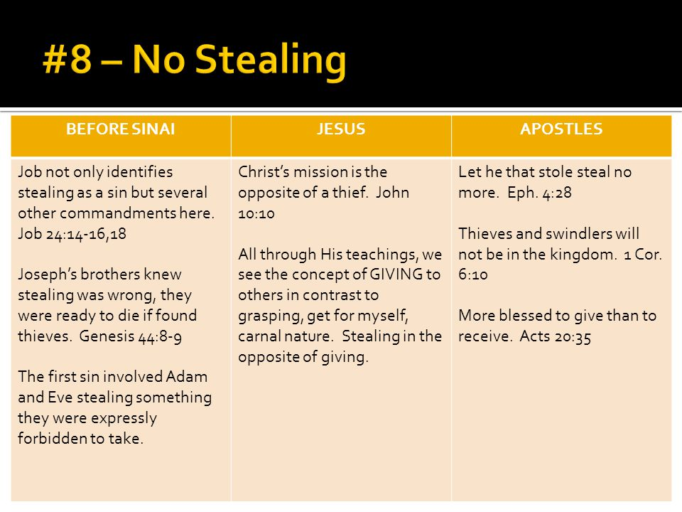 BEFORE SINAIJESUSAPOSTLES Job not only identifies stealing as a sin but several other commandments here.