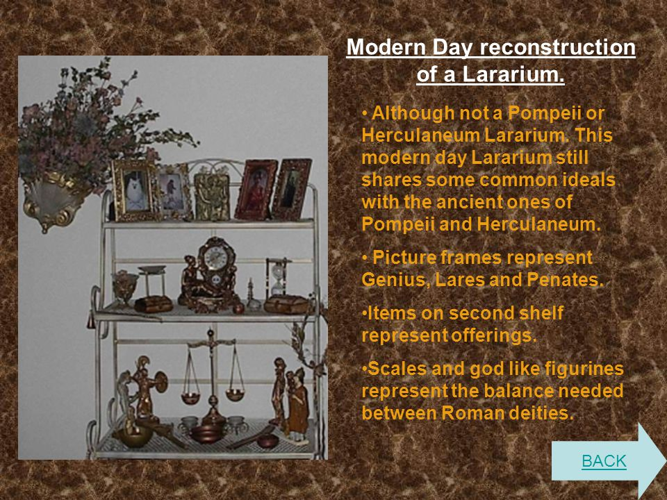 Modern Day reconstruction of a Lararium. Although not a Pompeii or Herculaneum Lararium. This modern day Lararium still shares some common ideals with