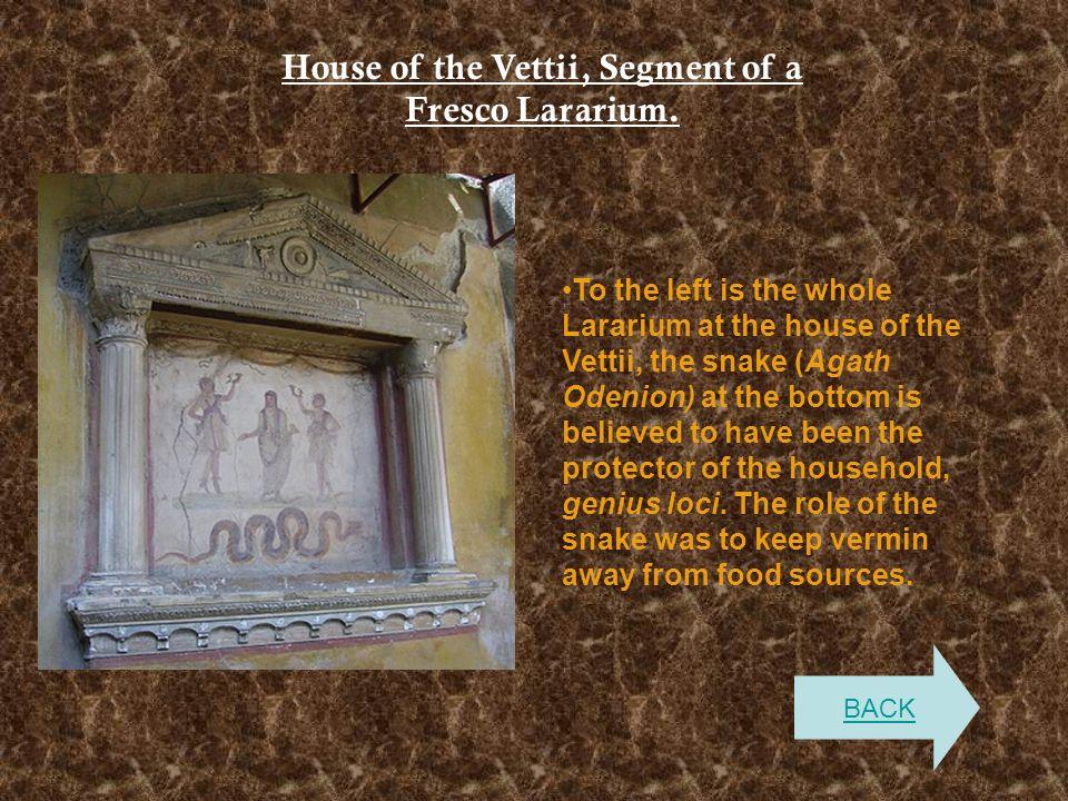 House of the Vettii, Segment of a Fresco Lararium. To the left is the whole Lararium at the house of the Vettii, the snake (Agath Odenion) at the bott