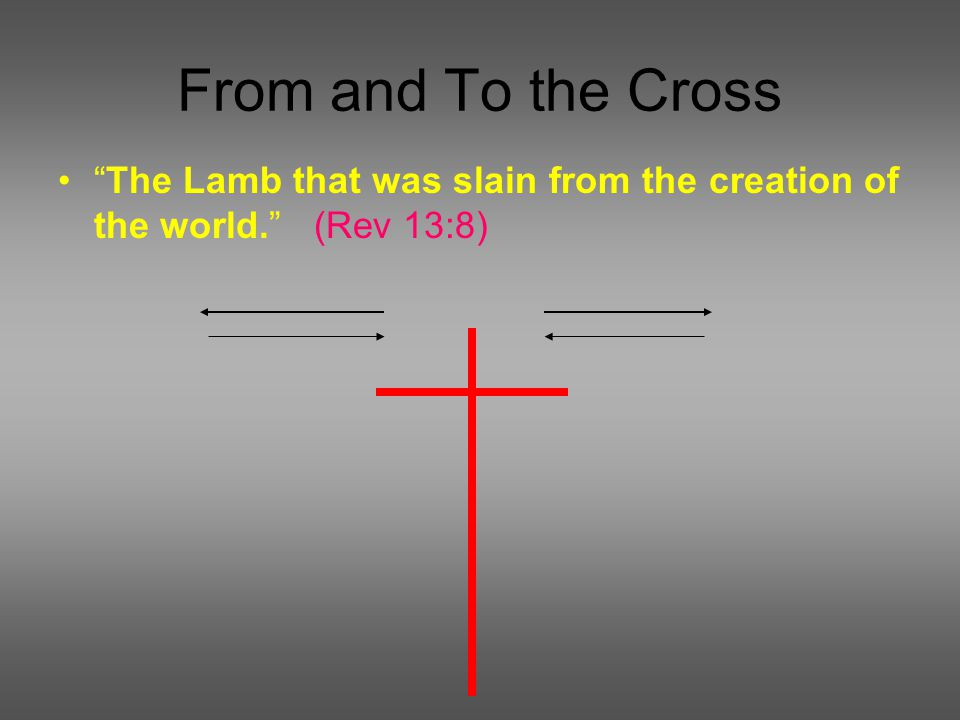 From and To the Cross The Lamb that was slain from the creation of the world. (Rev 13:8)