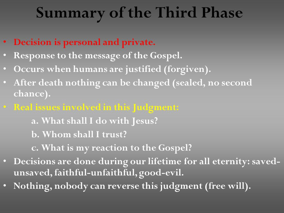 Summary of the Third Phase Decision is personal and private.