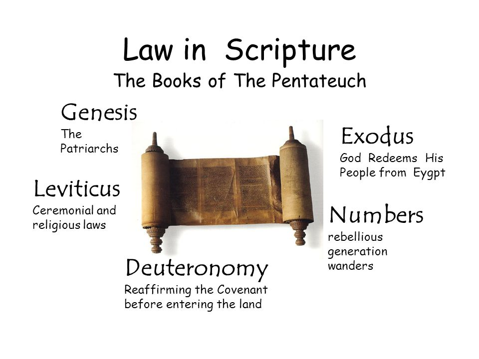 Law in Scripture The Books of The Pentateuch Genesis The Patriarchs Exodus God Redeems His People from Eygpt Leviticus Ceremonial and religious laws N