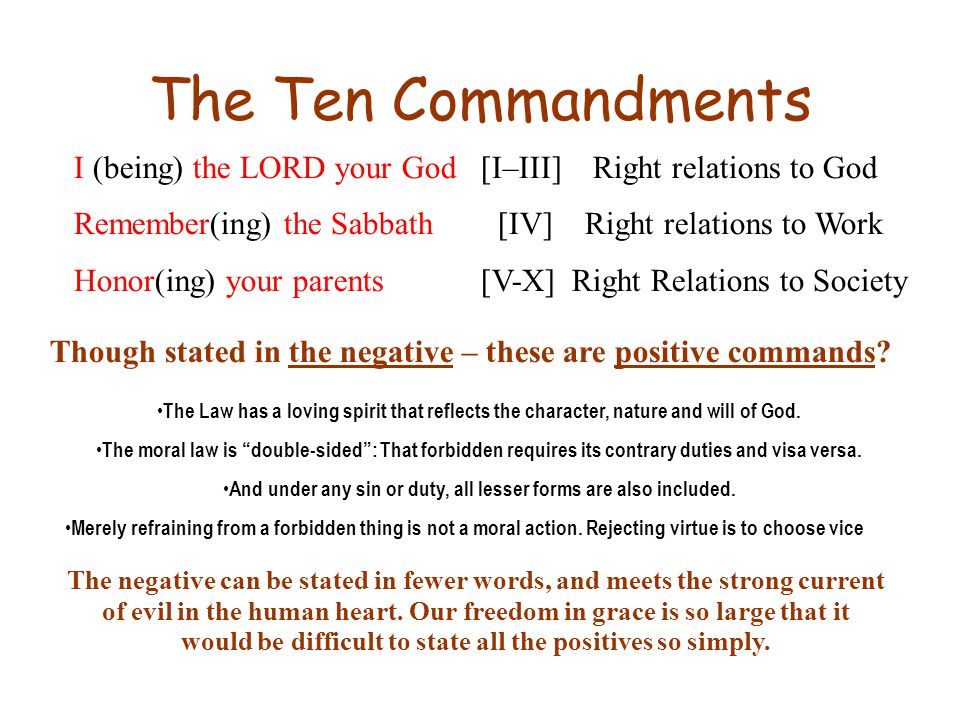 The Ten Commandments I (being) the LORD your God [I–III] Right relations to God Remember(ing) the Sabbath [IV] Right relations to Work Honor(ing) your