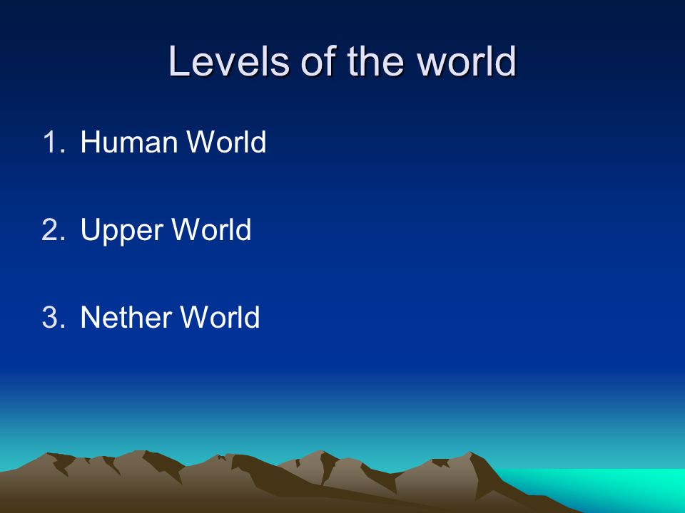 Levels of the world 1.Human World 2.Upper World 3.Nether World