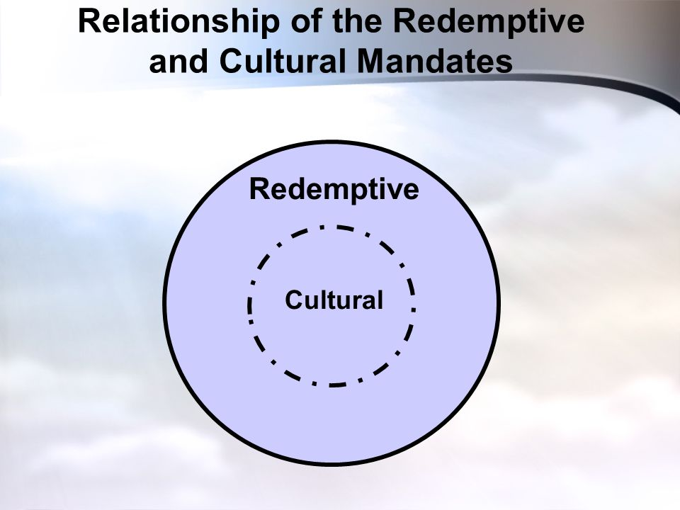 Relationship of the Redemptive and Cultural Mandates Redemptive Cultural
