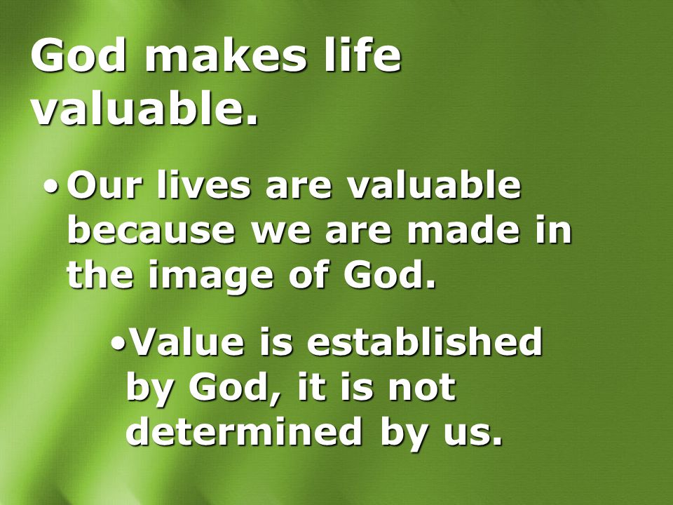 God makes life valuable. Our lives are valuable because we are made in the image of God.Our lives are valuable because we are made in the image of God