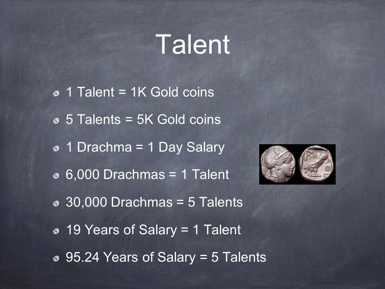 Talent 1 Talent = 1K Gold coins 5 Talents = 5K Gold coins 1 Drachma = 1 Day Salary 6,000 Drachmas = 1 Talent 30,000 Drachmas = 5 Talents 19 Years of Salary = 1 Talent 95.24 Years of Salary = 5 Talents