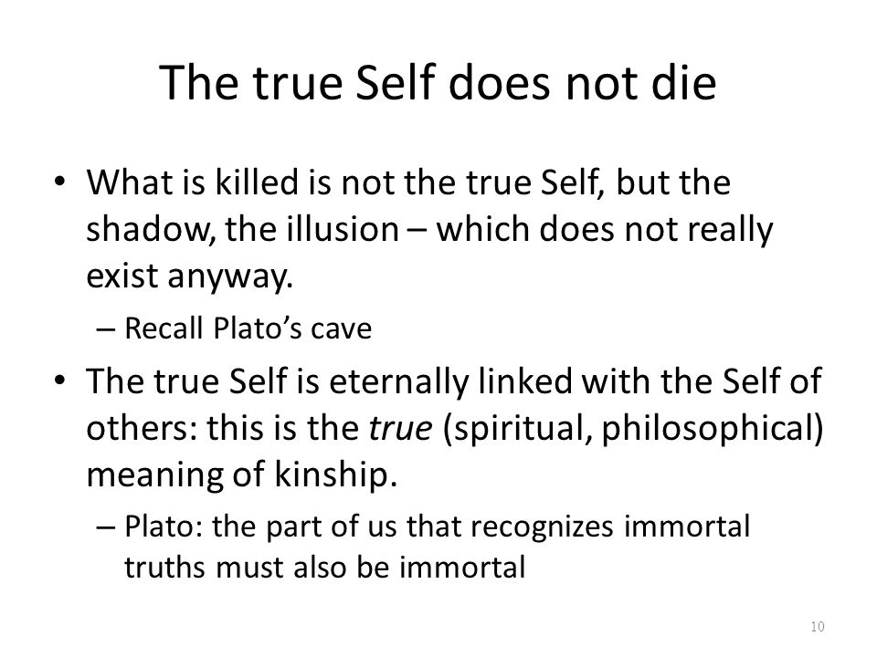 The true Self does not die What is killed is not the true Self, but the shadow, the illusion – which does not really exist anyway.