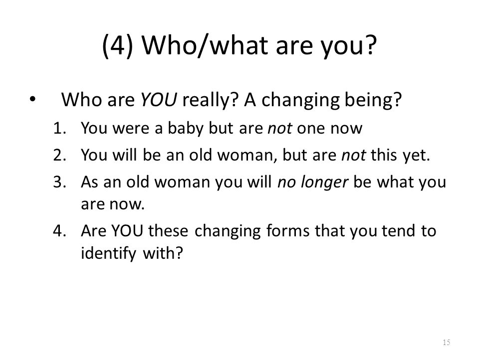 (4) Who/what are you. Who are YOU really. A changing being.