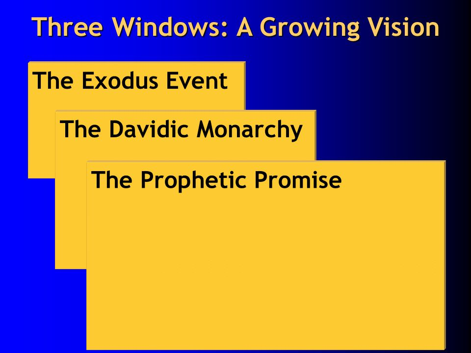 The Exodus Event The Davidic Monarchy The Prophetic Promise Three Windows: A Growing Vision