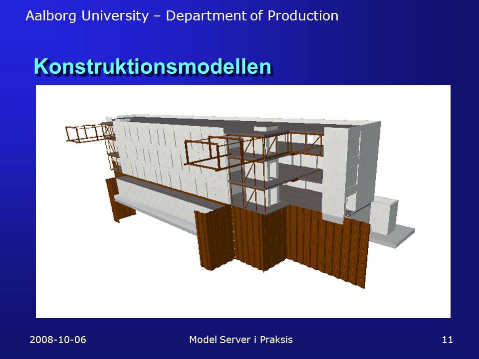 Aalborg University – Department of Production 2008-10-06Model Server i Praksis11 KonstruktionsmodellenKonstruktionsmodellen
