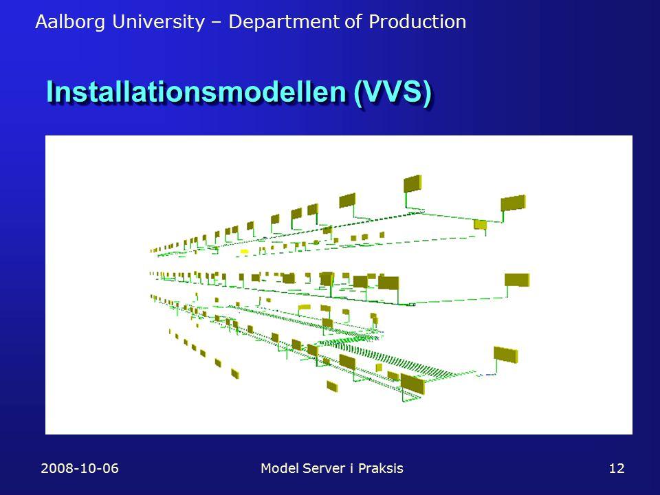 Aalborg University – Department of Production 2008-10-06Model Server i Praksis12 Installationsmodellen (VVS)