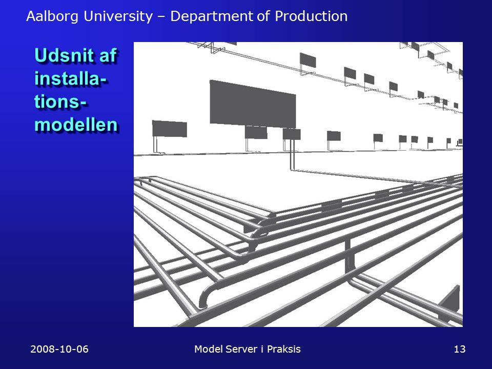 Aalborg University – Department of Production 2008-10-06Model Server i Praksis13 Udsnit af installa- tions- modellen
