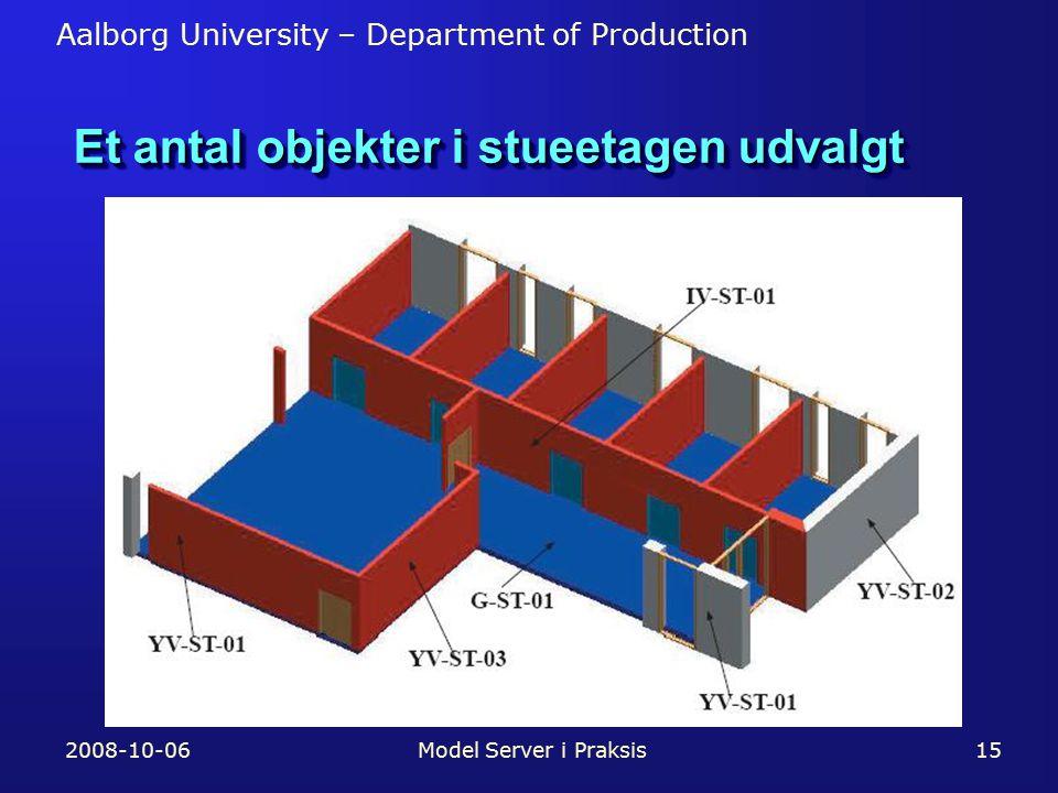 Aalborg University – Department of Production 2008-10-06Model Server i Praksis15 Et antal objekter i stueetagen udvalgt