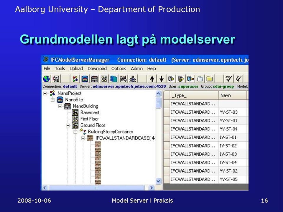 Aalborg University – Department of Production 2008-10-06Model Server i Praksis16 Grundmodellen lagt på modelserver