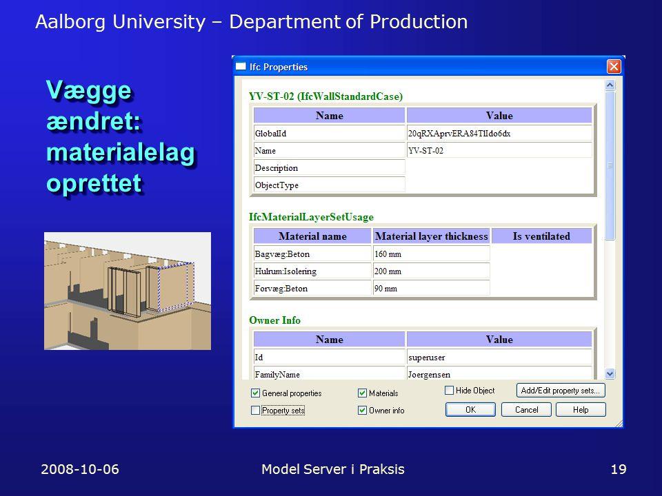 Aalborg University – Department of Production 2008-10-06Model Server i Praksis19 Vægge ændret: materialelag oprettet