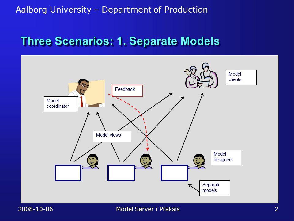 Aalborg University – Department of Production Three Scenarios: 1.