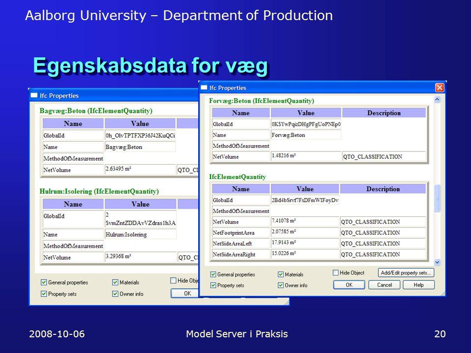 Aalborg University – Department of Production 2008-10-06Model Server i Praksis20 Egenskabsdata for væg
