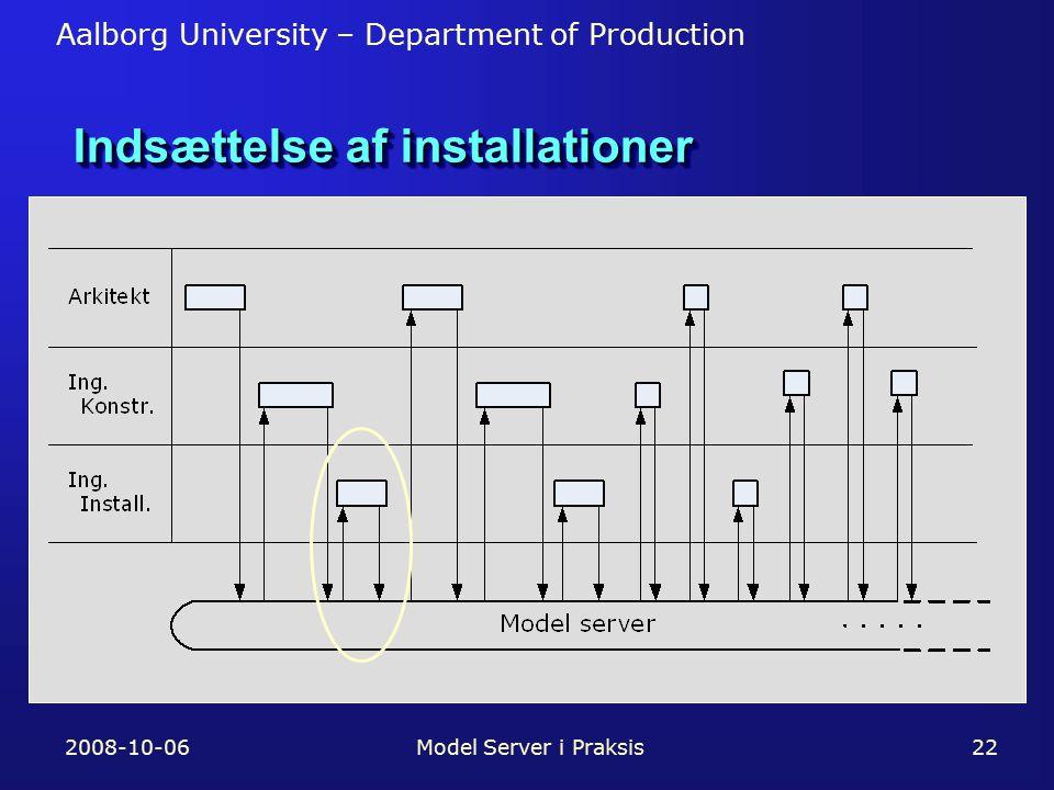 Aalborg University – Department of Production 2008-10-06Model Server i Praksis22 Indsættelse af installationer