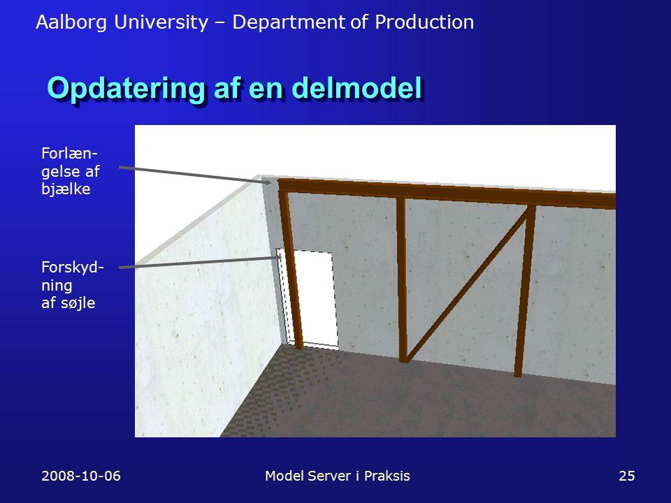 Aalborg University – Department of Production 2008-10-06Model Server i Praksis25 Opdatering af en delmodel Forlæn- gelse af bjælke Forskyd- ning af søjle