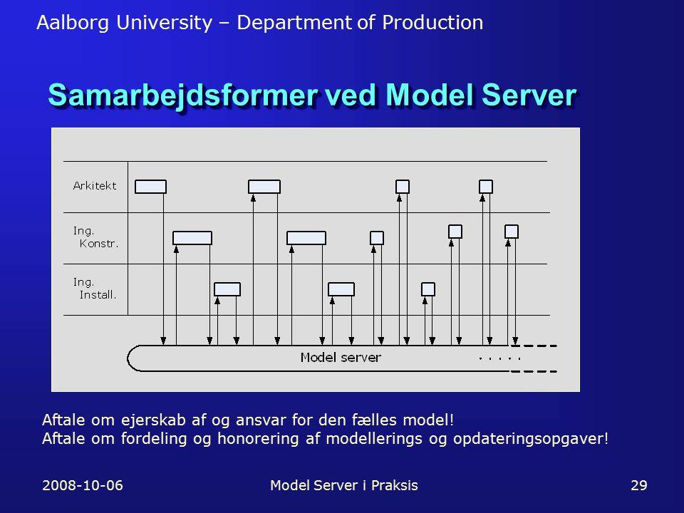 Aalborg University – Department of Production 2008-10-06Model Server i Praksis29 Samarbejdsformer ved Model Server Aftale om ejerskab af og ansvar for den fælles model.