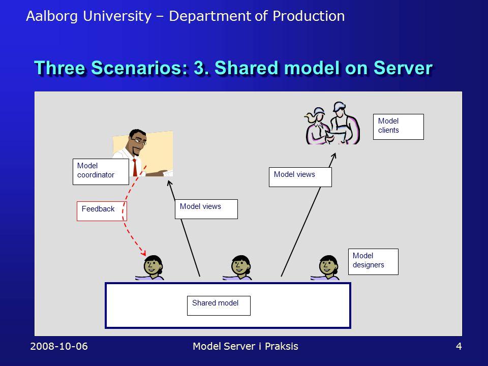Aalborg University – Department of Production Three Scenarios: 3.