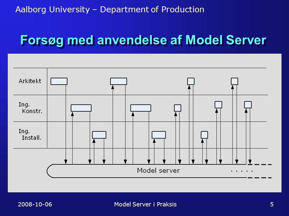 Aalborg University – Department of Production 2008-10-06Model Server i Praksis5 Forsøg med anvendelse af Model Server