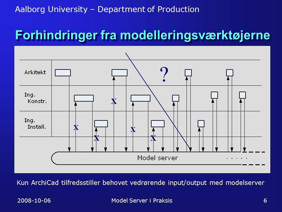 Aalborg University – Department of Production 2008-10-06Model Server i Praksis6 Forhindringer fra modelleringsværktøjerne X X X .