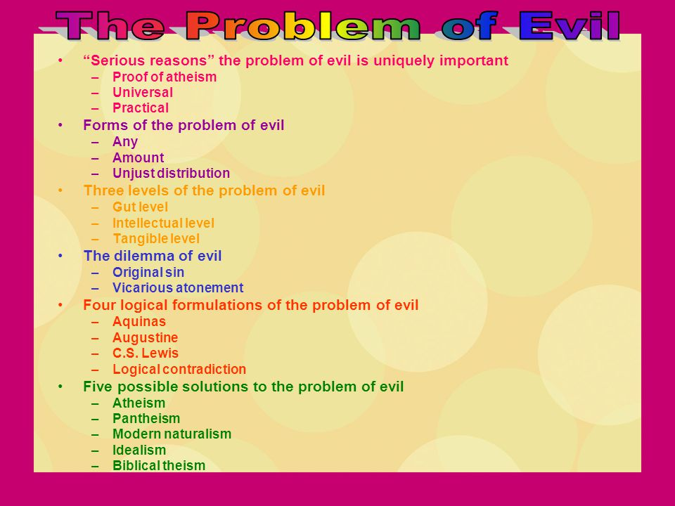 """""""Serious reasons"""" the problem of evil is uniquely important –Proof of atheism –Universal –Practical Forms of the problem of evil –Any –Amount –Unjust"""