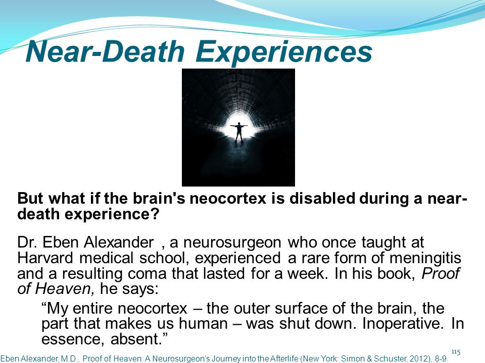 Near-Death Experiences But what if the brain's neocortex is disabled during a near- death experience? Dr. Eben Alexander, a neurosurgeon who once taug