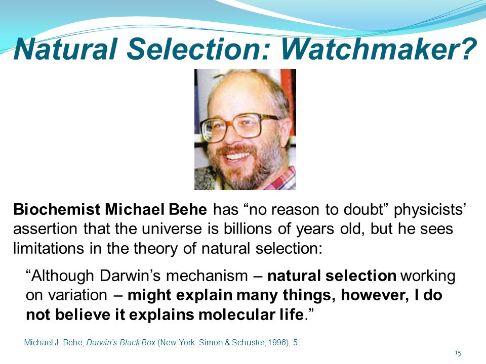 "Natural Selection: Watchmaker? Biochemist Michael Behe has ""no reason to doubt"" physicists' assertion that the universe is billions of years old, but"