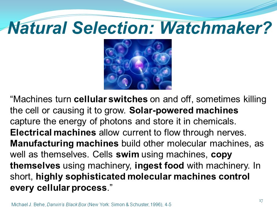 "Natural Selection: Watchmaker? ""Machines turn cellular switches on and off, sometimes killing the cell or causing it to grow. Solar-powered machines c"