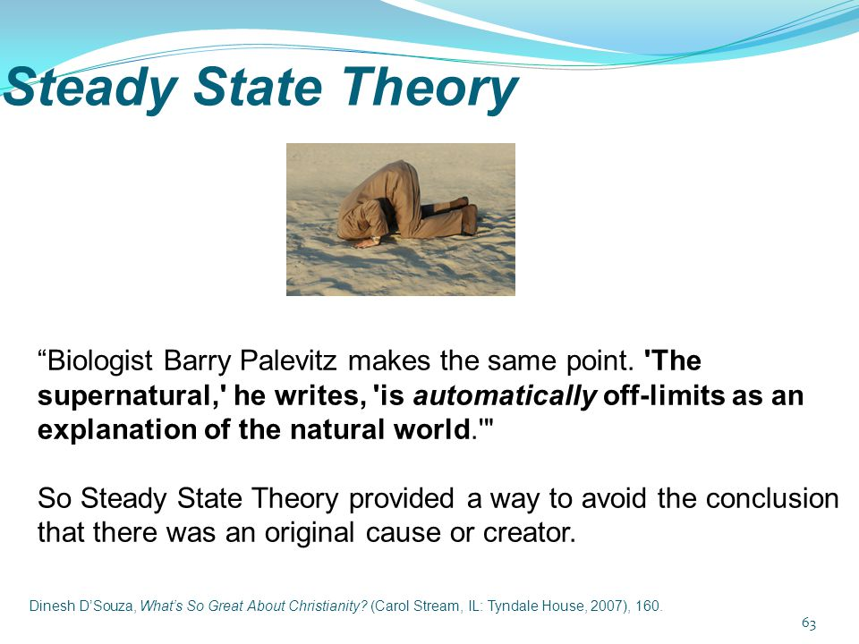 "Steady State Theory ""Biologist Barry Palevitz makes the same point. 'The supernatural,' he writes, 'is automatically off-limits as an explanation of t"
