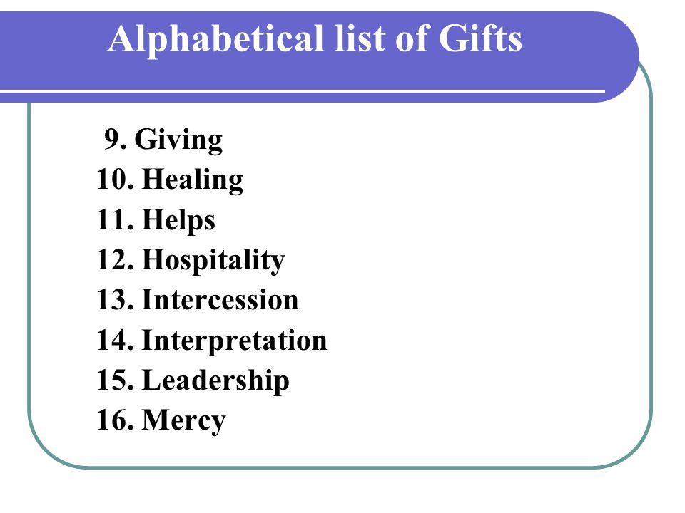 Alphabetical list of Gifts 9.Giving 10. Healing 11.