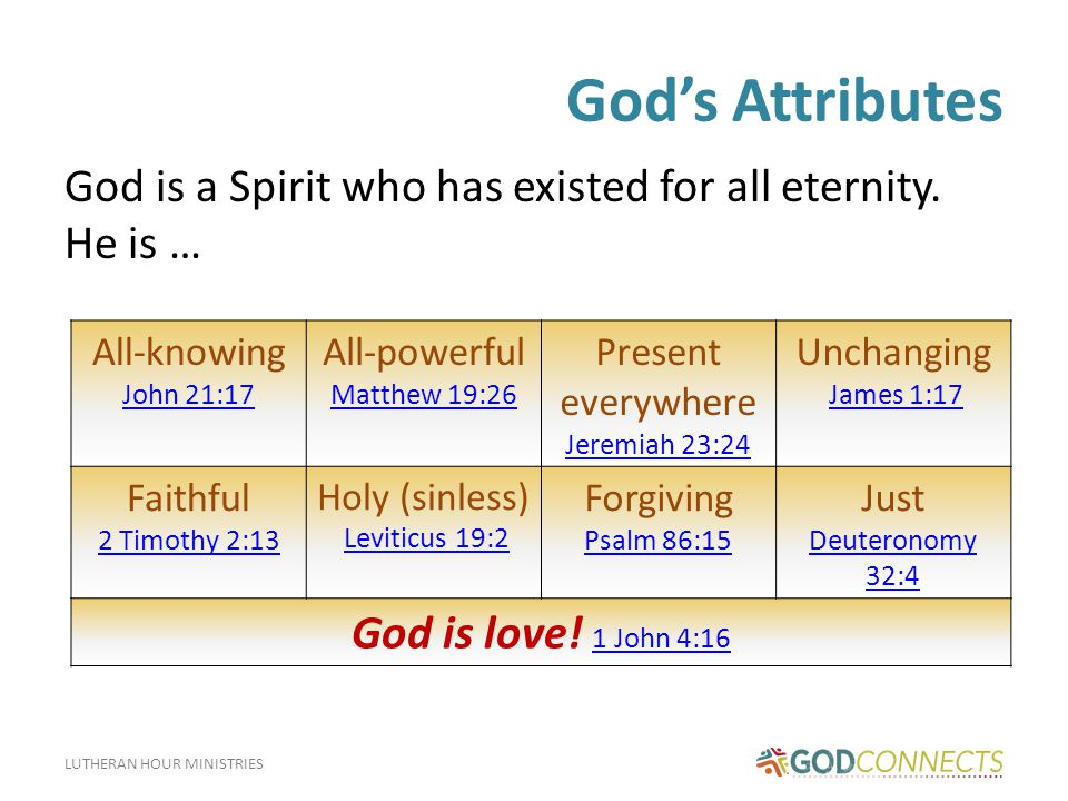 LUTHERAN HOUR MINISTRIES God's Attributes God is a Spirit who has existed for all eternity.