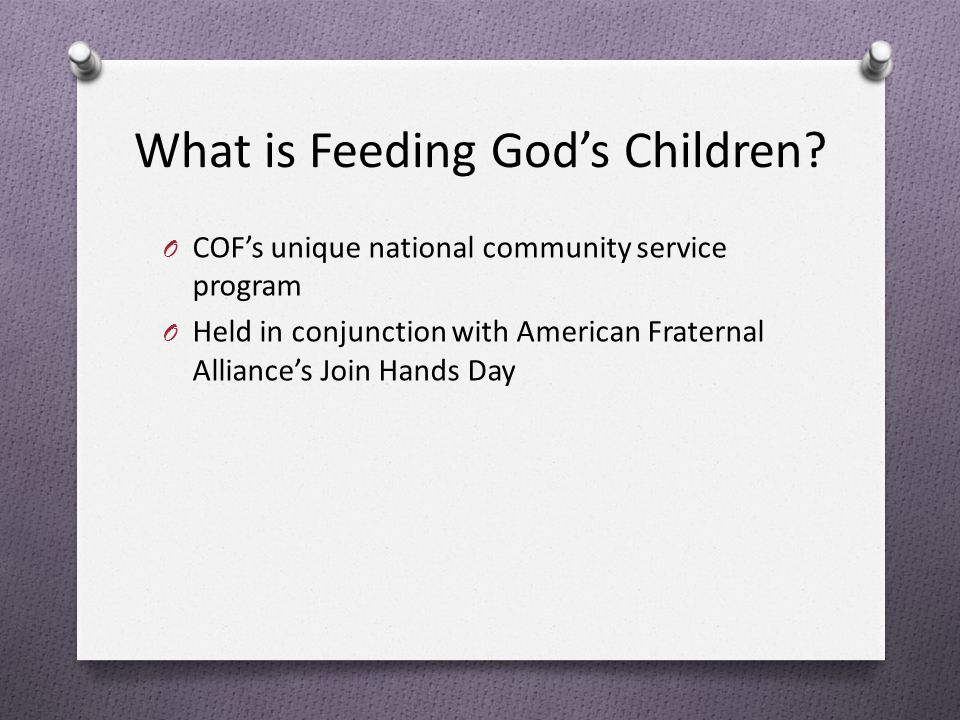 What is Feeding God's Children.