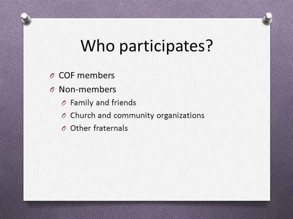 Participation Statistics O 2009 80 COF courts 3,500 member and non-member volunteers O 2010 100 COF courts 4,400 member and non-member volunteers