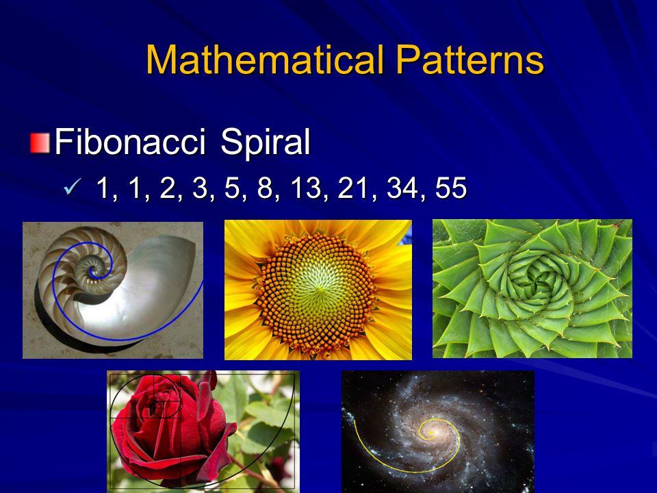 Mathematical Patterns Fibonacci Spiral 1, 1, 2, 3, 5, 8, 13, 21, 34, 55 1, 1, 2, 3, 5, 8, 13, 21, 34, 55