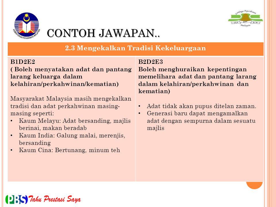 CONTOH JAWAPAN.. 2.3 Mengekalkan Tradisi Kekeluargaan B1D2E2 ( Boleh menyatakan adat dan pantang larang keluarga dalam kelahiran/perkahwinan/kematian)